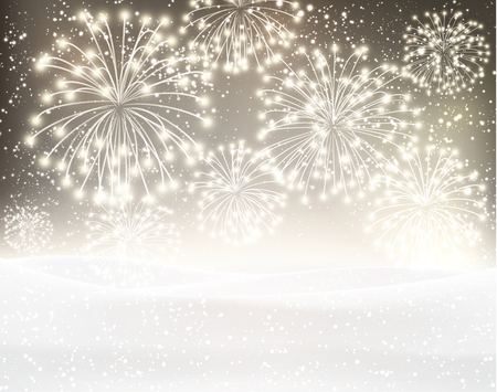 Festive xmas firework sepia background. Vector illustration.