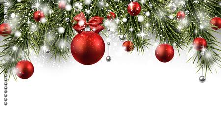 Bandera del invierno con ramas de abeto y bolas de color rojo. ilustración vectorial Navidad con el lugar para el texto. Ilustración de vector