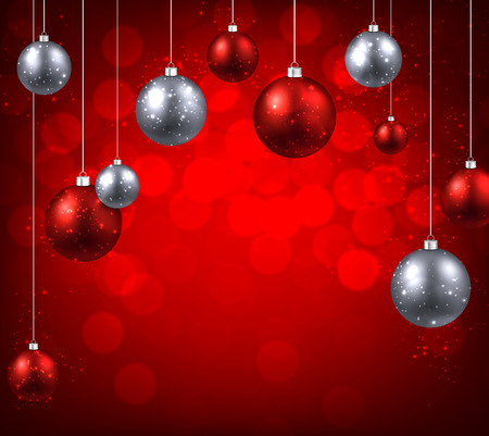 argent: Christmas red background with color balls. Vector illustration.