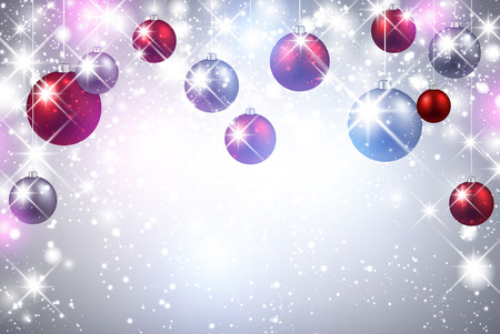 Christmas shining background with color balls. Vector Illustration. 矢量图像
