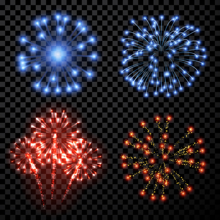 bursts: Festive fireworks set isolated on black background. Vector illustration.