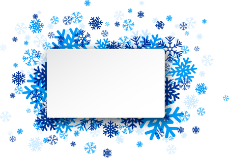 paper note: White paper note with blue snowflakes. Vector illustration.