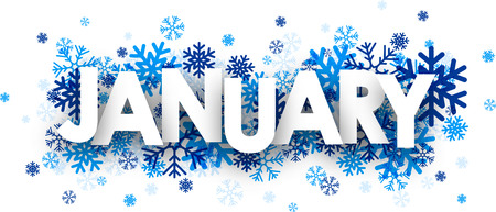 january: January sign with snowflakes. Vector illustration.