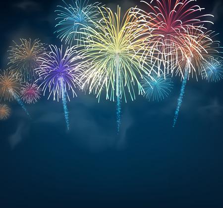fuegos artificiales: Fondo festivo de fuegos artificiales de color. Ilustración del vector.