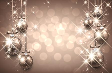 muerdago navideÃ?  Ã? Ã?±o: Fondo de año nuevo con bolas. Ilustración vectorial. Vectores