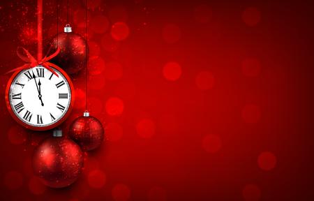 reloj: Nuevo fondo rojo año con bolas de Navidad y reloj de la vendimia. Ilustración del vector con el lugar de texto. Vectores