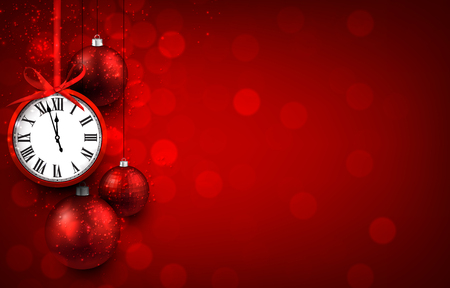 New year red background with christmas balls and vintage clock. Vector illustration with place for text. Vettoriali
