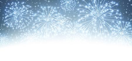 fuegos artificiales: Navidad festivas firework fondo. Ilustración del vector. Vectores