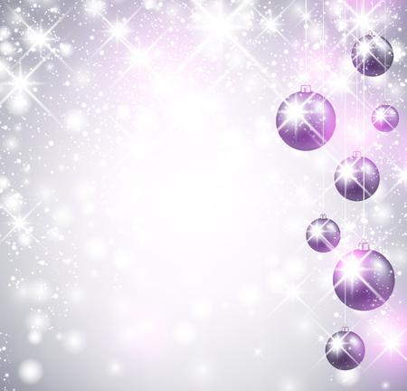 violeta: Navidad brillante fondo con bolas. Ilustración del vector.