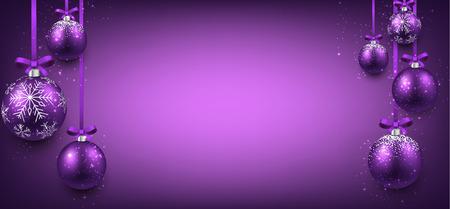 navidad elegante: Bandera elegante abstracto con bolas de navidad de color púrpura y el lugar de texto. Ilustración del vector.