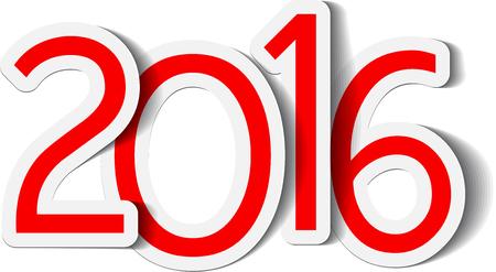 rood teken: 2016 New Year red sign. Vector paper illustration. Stock Illustratie