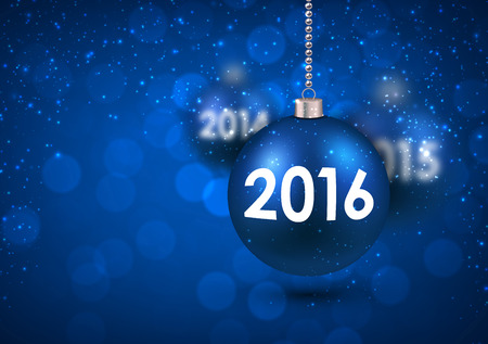 argent: 2016 New Year card with blue balls. Vector Illustration. Illustration