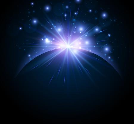sonne mond und sterne: Planeten Erde Hintergrund Illustration