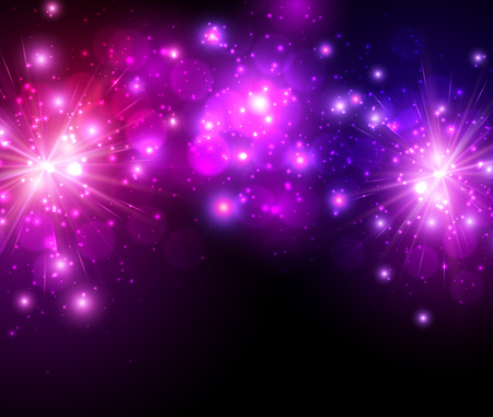 purple stars: Festive lilac firework background