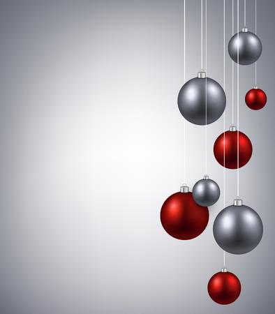 Noël fond argenté avec des boules de couleur Banque d'images - 46289398