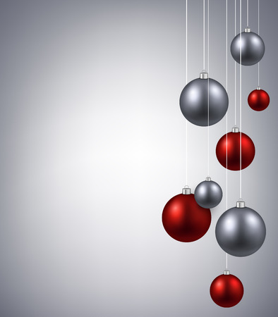 Christmas silver background with color balls Illustration