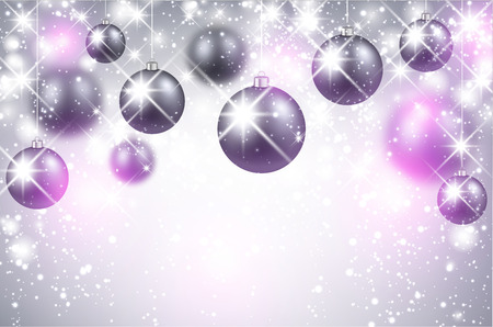 pink christmas: Christmas shining background with balls
