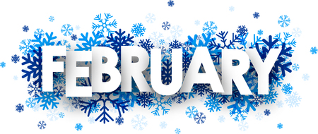 February sign with snowflakes Illustration