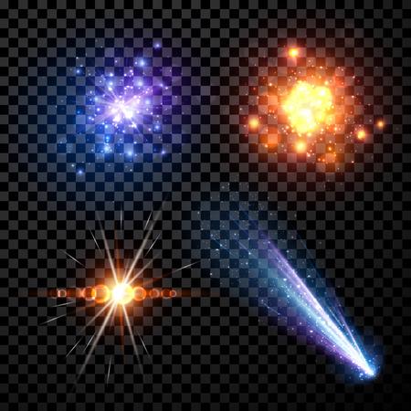 tiro al blanco: Estrellas conjunto aislado sobre fondo negro