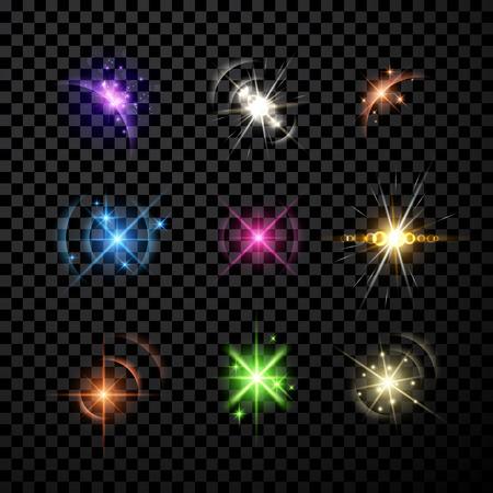 Stars et planète ensemble isolé sur fond noir Banque d'images - 46289305