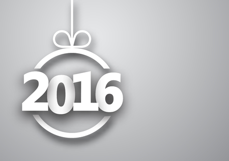 happy 3d: 2016 New Year sign on gray background Illustration