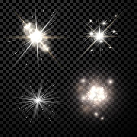 Stars black-white set isolated on black background