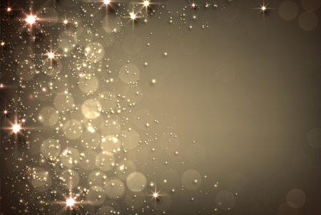 background lights: Abstract golden background with stars and place for text
