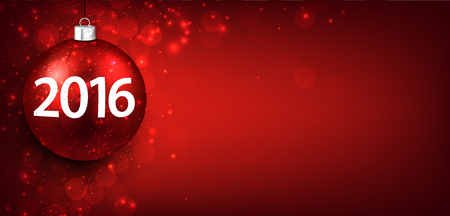 lights: 2016 New year red background with christmas bauble