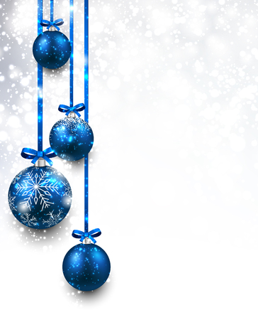 blue ribbon: Christmas background with blue balls