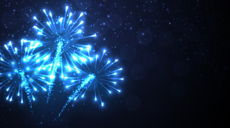 Festive blue firework background