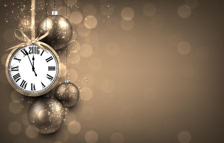 orologi antichi: 2016 Anno nuovo sfondo d'oro con palle di Natale e orologio d'epoca Vettoriali