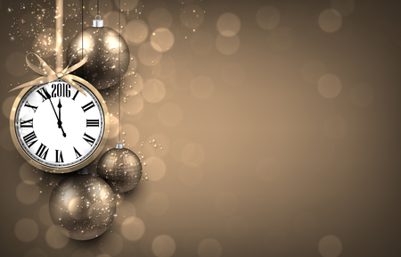 2016 New year golden background with christmas balls and vintage clock