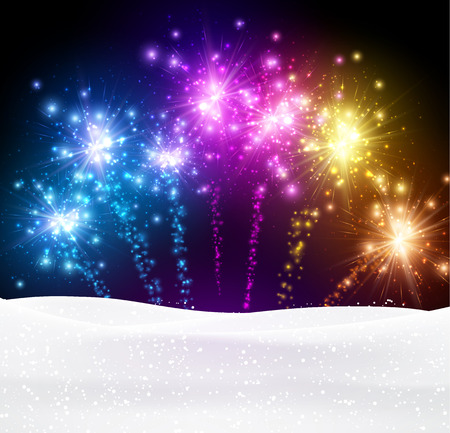 Festive xmas colour firework background