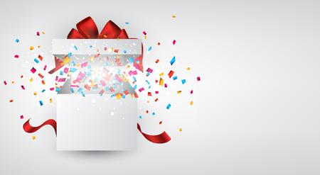 Eröffnet 3d realistische Geschenk-Box mit roter Schleife und Konfetti