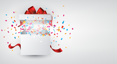 gift background: Opened 3d realistic gift box with red bow and confetti