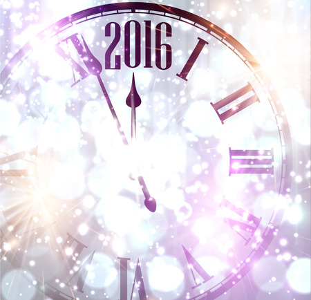 chiming: 2016 New Year background with clock. Vector paper illustration.