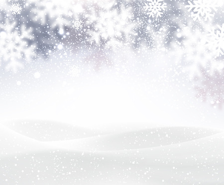and in winter: Winter background with snowflakes Illustration