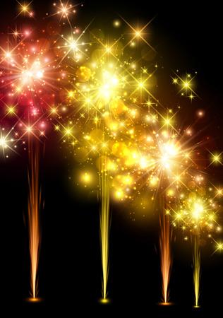 festive background: Festive colourful firework background