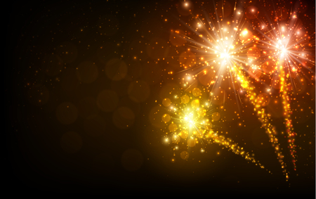 Festive yellow firework background Vectores