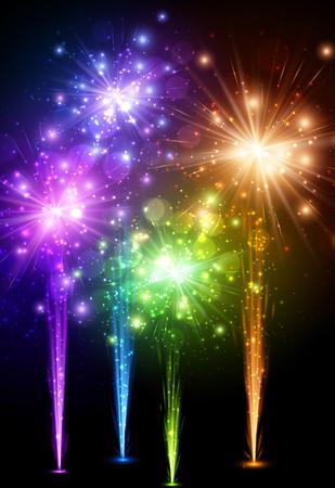 festive background: Festive color firework on black background
