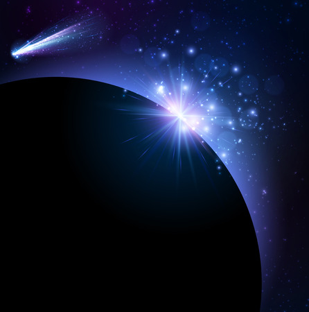 reflexion: Earth planet background with comet