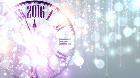 new year card: 2016 New Year background with clock