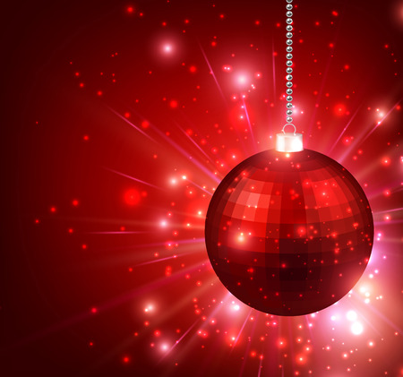 red ball: New Year background with red ball