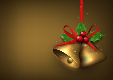 golden ribbon: Christmas background with bells Illustration