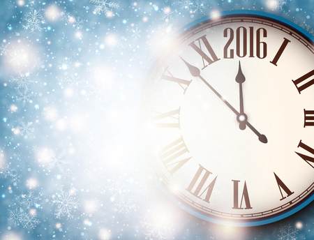 chiming: 2016 New Year background with clock and snowflakes