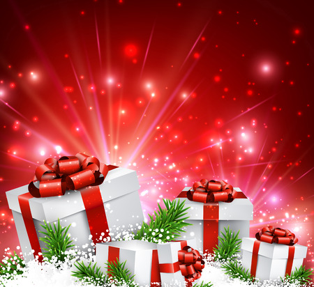 gift: Christmas red background with gifts