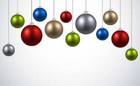 christmas ball: New Year background with colourful balls. Vector illustration.
