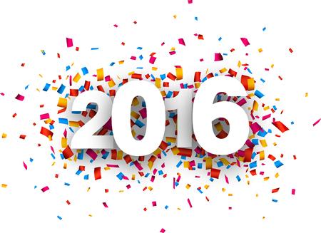 nouvel an: Bonne 2,016 nouvelle ann�e avec des confettis de couleur. papier illustration.