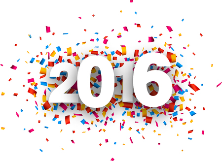 fonts year: Happy 2016 new year with colour confetti. paper illustration.