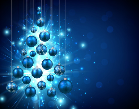 Christmas blue background with balls Çizim